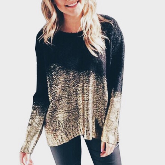 51% off LF Sweaters - [bar iii] • [black and gold ombré sweater ...