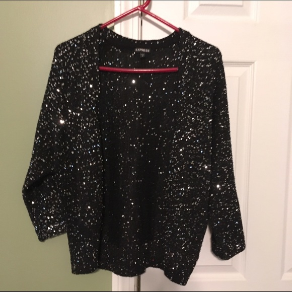 70% off Express Sweaters - Black & Gold sequin cardigan Express ...