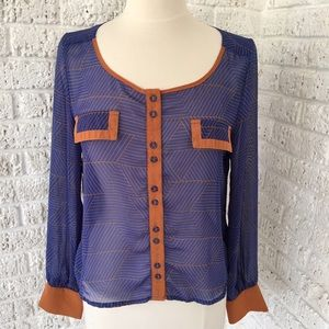 Blue and Brown Sheer geometric pattern blouse