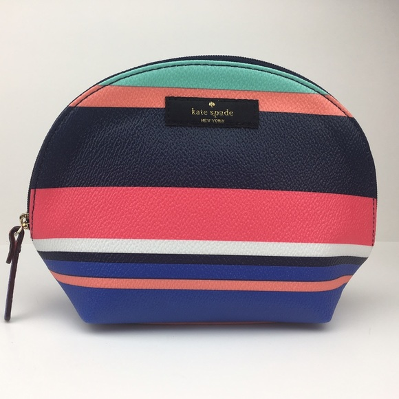Kate Spade Keri Cosmetic Bag Tropical Stripe NWT 1c581f39948ee