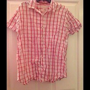 Mens Plaid RED CAMEL Button Down Top/Shirt ~ XL