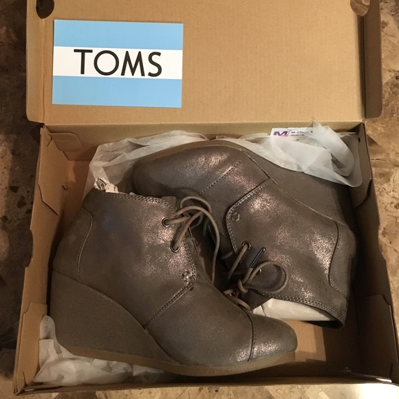 f5b8074fcc9 Toms Desert Wedge Gunmetal Metallic Boots