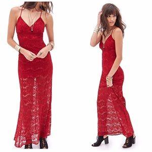 NWOT Red Floral Lace Maxi Dress MED