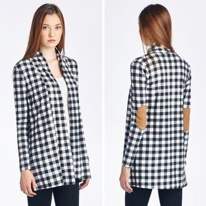 GlamVault Sweaters - Navy & White Checker Cardigan & Suede Patch Elbows