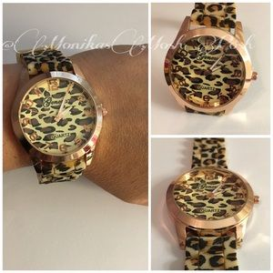 Tan Rose Gold Leopard Silicone Jelly Fashion Watch
