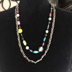 Double Strand Silver Leather Beaded Boho Necklace