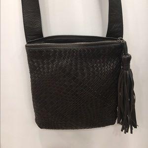 Dark Brown Italian leather cross body bag
