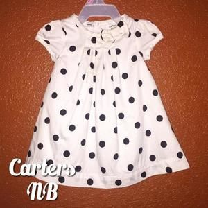 Carters Other - Carters White Black Polka Dot Dress With Bow NB