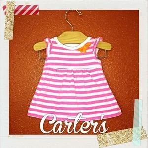 Carters Other - Carter's White and Neon Pink Striped Dress Set NB