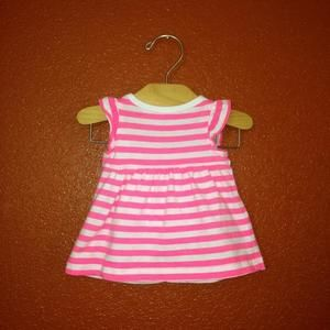 Carters Dresses - Carter's White and Neon Pink Striped Dress Set NB