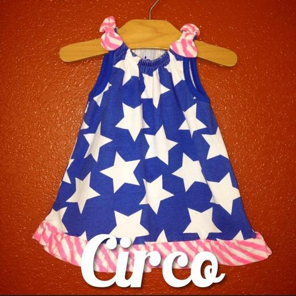 Circo (Target) Dresses - Circo Blue Star Dress With Neon Pink Newborn NEW