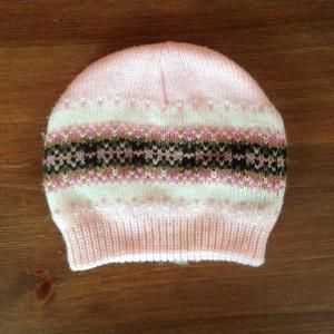 Pink and Brown Knitted Hat Infant