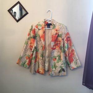 Susan Graver Jackets & Blazers - SUSAN GRAVER floral print jacket silk-look small