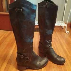 Black faux leather harness boots 9.5