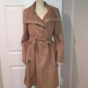 Vince Camuto Tan Wool Trench Coat Sz L