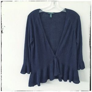 Navy peplum hem sweater