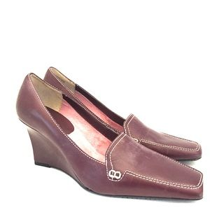 Ann Marino Shoes - Burgundy wedge heeled loafers💋