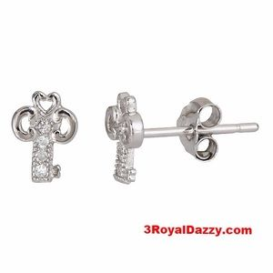 3 Royal Dazzy Jewelry - .925 Sterling Silver Micro Pave Earrings
