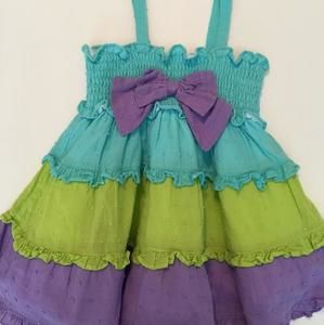 Bright turquoise, lime and purple sundress