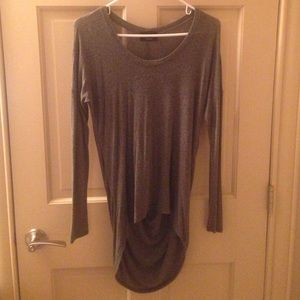 Charcoal knit top with gathered back detail.