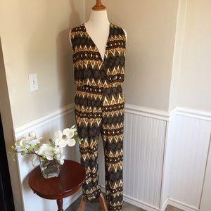 H G B G Pants - Plus size multicolored surplice jumpsuit. B028