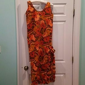VINTAGE  FLORAL PRINT MAXI RUFFLE SHIFT DRESS