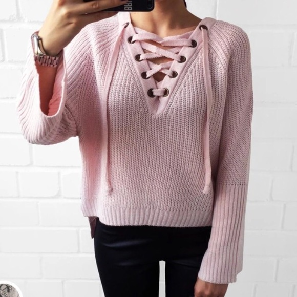 43% off B-Long Boutique Sweaters - pink lace up bell sleeve knit ...