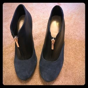 Shoes - Black leather/ navy blue suede booties