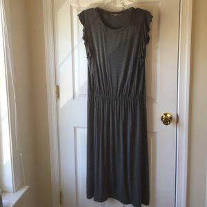 LOFT Grey Knit Dress Size Large Elastic Waist
