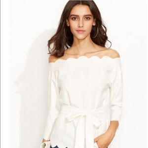 Tops - White scallop top (no belt)