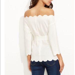 Tops - White scallop top (no belt)
