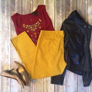 Banana Republic Denim - BANANA REPUBLIC Skinny Zip Cropped Mustard Jeans