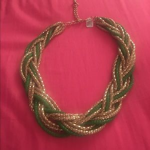 Green and gold woven necklace
