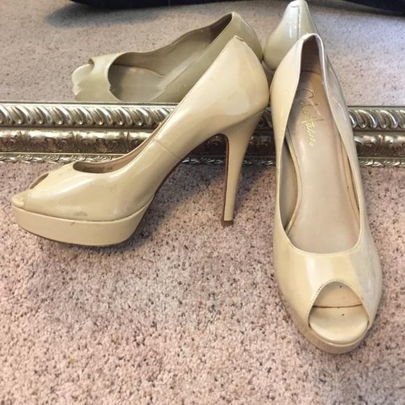 ba9ad3b50 Cole Haan Shoes - Cole Haan NikeAir 7.5 Nude Patent Peeptoe Heels