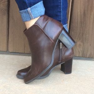 Enzo Angiolini Shoes - Enzo Angiolini Leather Booties Boots BROWN