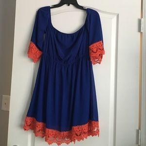 Blue and orange off the shoulder dress