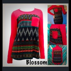The Blossom Apparel Tops - Red Tribal Contrast Pocket Top