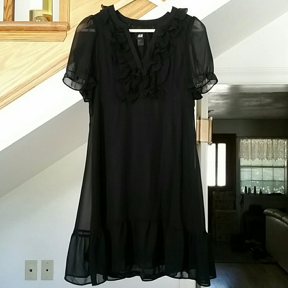 04100bffd H&M Dresses | Hm Black Chiffon Dress With Ruffled Neckline | Poshmark