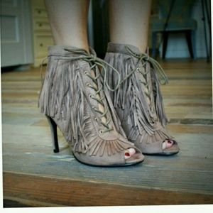 Shoes - last price cut...Brand new Fringe lace up bootie