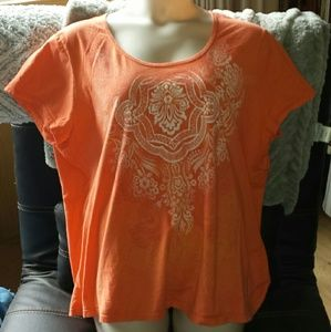 Just My Size Tops - Lovely graphic tee in energizing orange, plus size