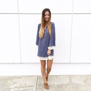 | new | blue lace trim dress