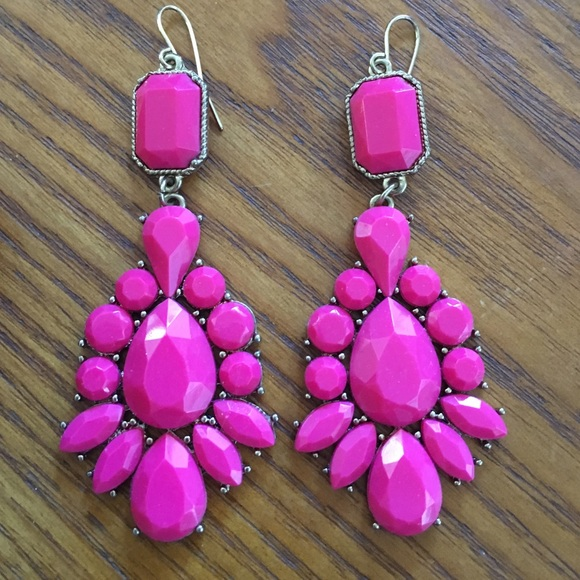 fuschia fashion earrings drop pageant selena statement