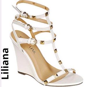 Liliana Shoes - Gladiator studded wedge shoes