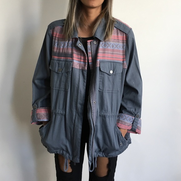 Mossimo Supply Co. Jackets & Blazers - Denim Anorak with Tribal Print Details