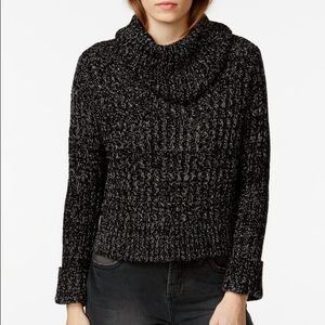 Free People Sweaters - Free People black comb cropped turtleneck sweater