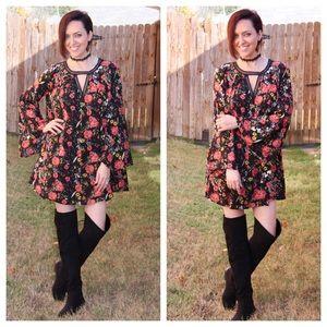SALE  Floral swing bell sleeve dress