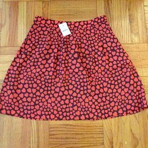 J.Crew Factory heart print pleated skirt, size 2