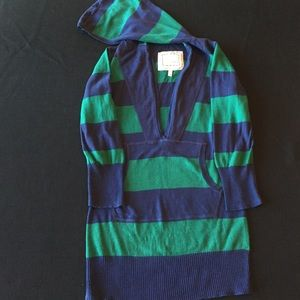 Tildon Sweaters - Tildon green and blue 3/4 sleeve hoodie