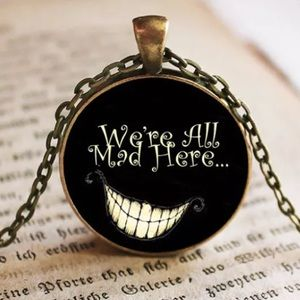 """We're All Mad Here"" Glass & Brass Necklace"