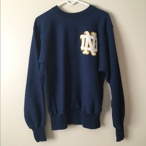Vintage Navy Blue Notre Dame Crewneck Sweatshirt